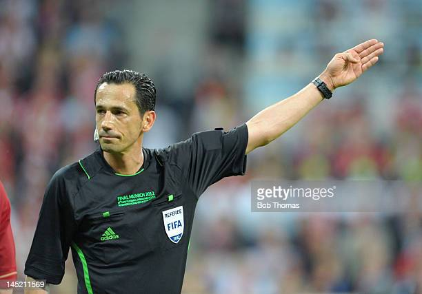 Referee Pedro Proenca of Portugal during the UEFA Champions League Final between FC Bayern Munich and Chelsea at the Fussball Arena Munich on May 19...