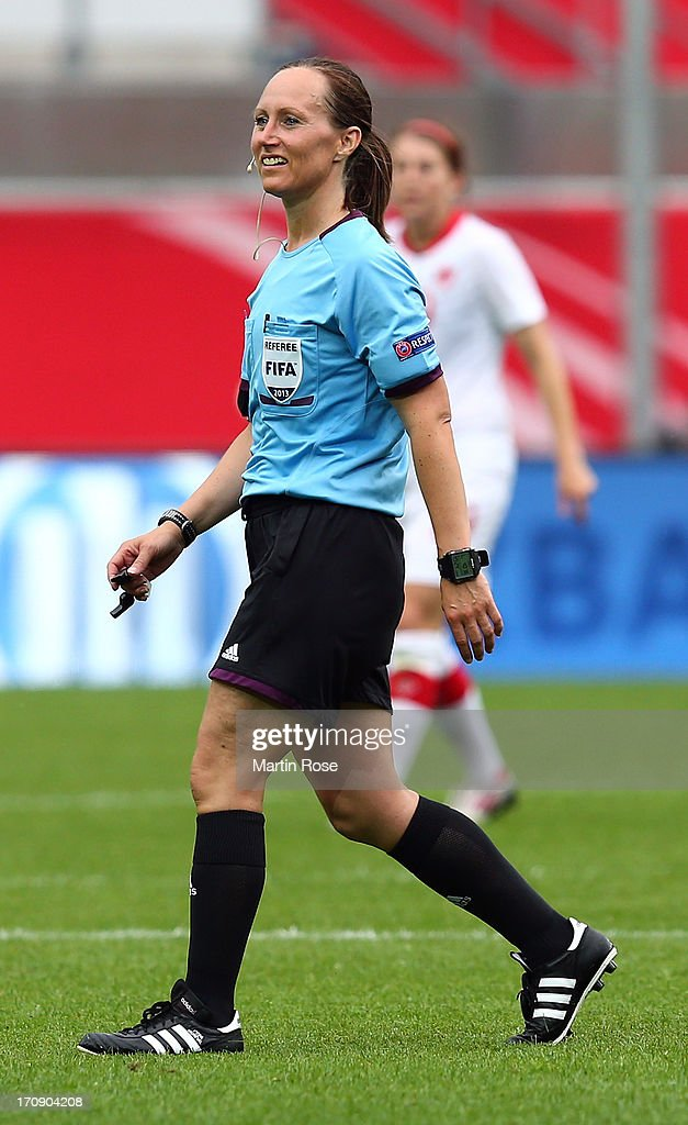Referee Pernilla Larsson of Sweden looks on during the Women's International Friendly match between Germany and Canada at Benteler Arena on June 19, 2013 in Paderborn, Germany.