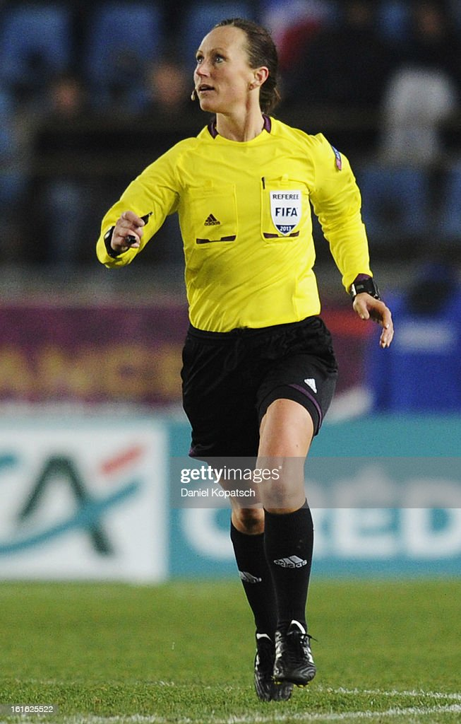 Referee Pernilla Larsson reacts during the international friendly match between France and Germany at Stade de la Meinau on February 13, 2013 in Strasbourg, France.