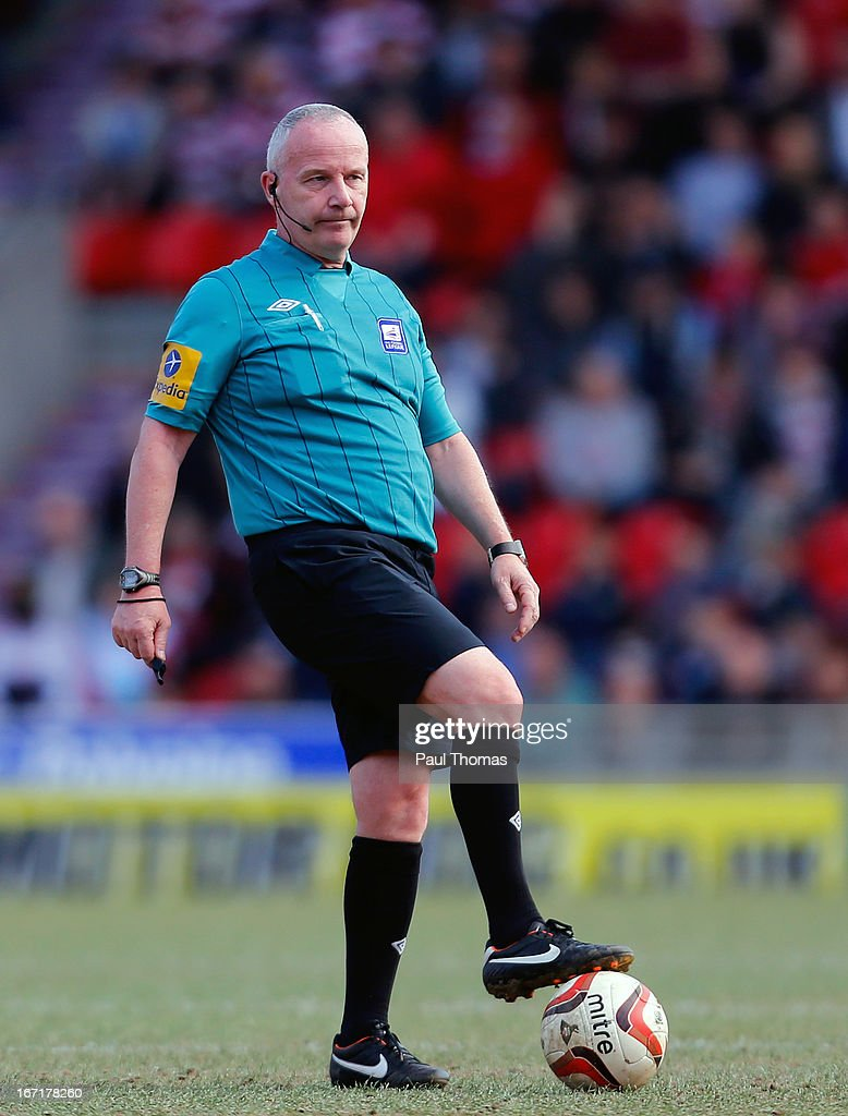 Referee Peter Gibbs watches on during the npower League One match between Doncaster Rovers and Notts County at the Keepmoat Stadium on April 20, 2013 in Doncaster, England.