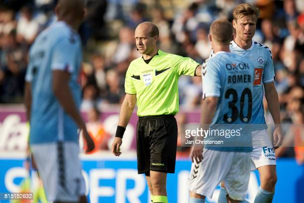 Referee Peter Kjarsgaard in action during the Danish Alka Superliga match between SonderjyskE and Randers FC at Sydbank Park on July 15 2017 in...