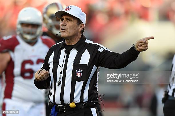 Referee Peter Morelli makes a call on the field during the NFL game between the San Francisco 49ers and the Arizona Cardinals at Levi's Stadium on...