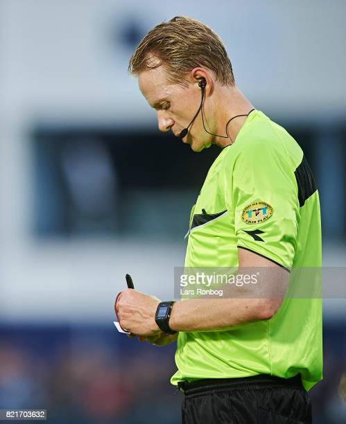 Referee Peter Munch Larsen in action during the Danish Alka Superliga match between FC Helsingor and OB Odense at Helsingor Stadion on July 24 2017...