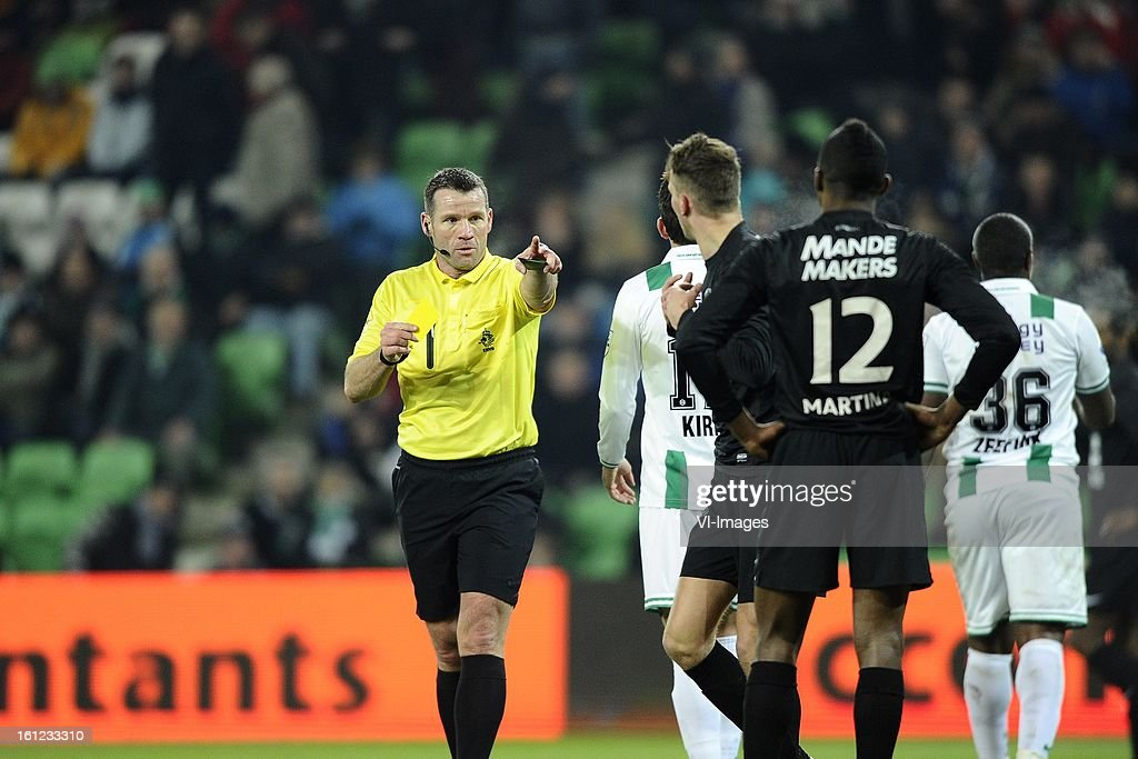 Referee Pieter Vink, Andraz Kirm of FC Groningen, Frank van Mosselveld of RKC Waalwijk, Cuco Martina of RKC Waalwijk, Luciano da Silva of FC Groningen, during the Dutch Eredivisie match between FC Groningen and RKC Waalwijk at the Euroborg on february 9, 2013 in Groningen, The Netherlands