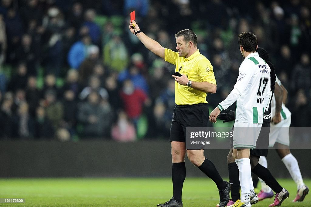 Referee Pieter Vink, during the Dutch Eredivisie match between FC Groningen and RKC Waalwijk at the Euroborg on february 9, 2013 in Groningen, The Netherlands