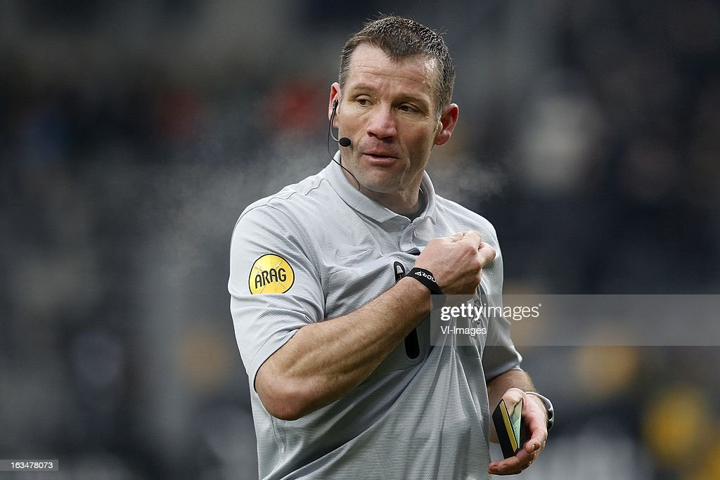 Referee Pieter Vink during the Dutch Eredivisie match between Roda JC Kerkrade and Feyenoord at the Parkstad Limburg on march 10, 2013 in Kerkrade, The Netherlands