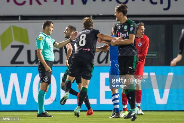 referee Pol van Boekel Bram van Polen of PEC Zwolle goalkeeper Diederik Boer of PEC Zwolle during the Dutch Eredivisie match between PEC Zwolle and...