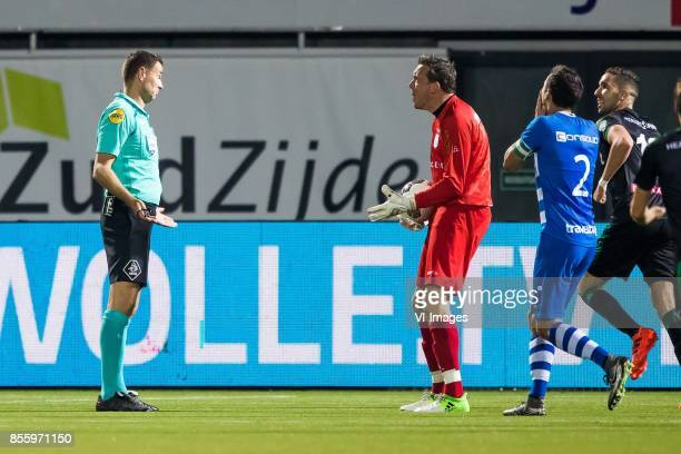 referee Pol van Boekel goalkeeper Diederik Boer of PEC Zwolle Bram van Polen of PEC Zwolle during the Dutch Eredivisie match between PEC Zwolle and...