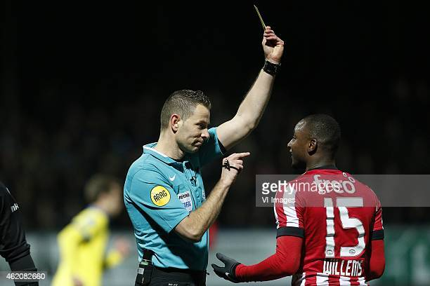 Referee Pol van Boekel Jetro Willems of PSV during the Dutch Eredivisie match between SC Cambuur and PSV Eindhoven at the Cambuurstadion on january...
