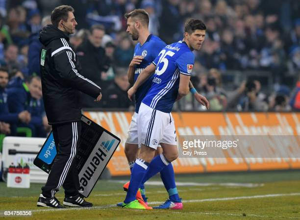 referee Rafael Foltyn Guido Burgstaller and KlaasJan Huntelaar of FC Schalke 04 during the game between FC Schalke 04 and Hertha BSC on February 11...