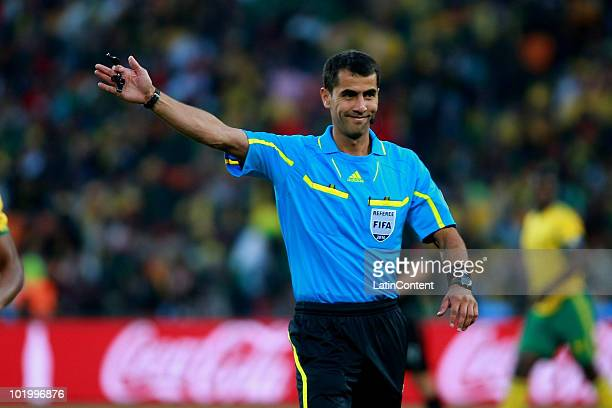 Referee Ravshan Irmatov during the Group A match of FIFA 2010 World Cup between South Africa and Mexico at Soccer City stadium on June 11 2010 in...