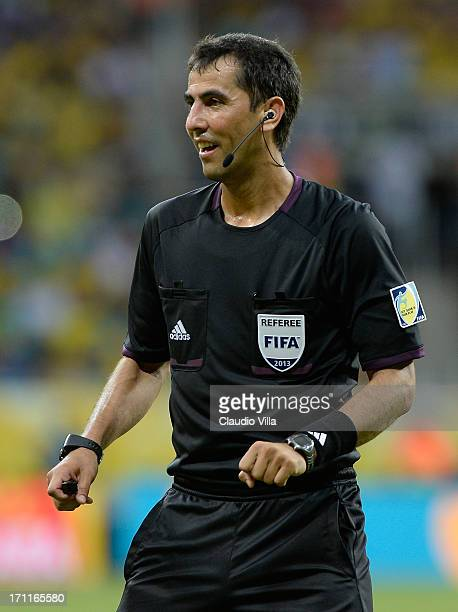 Referee Ravshan Irmatov looks on during the FIFA Confederations Cup Brazil 2013 Group A match between Italy and Brazil at Estadio Octavio Mangabeira...