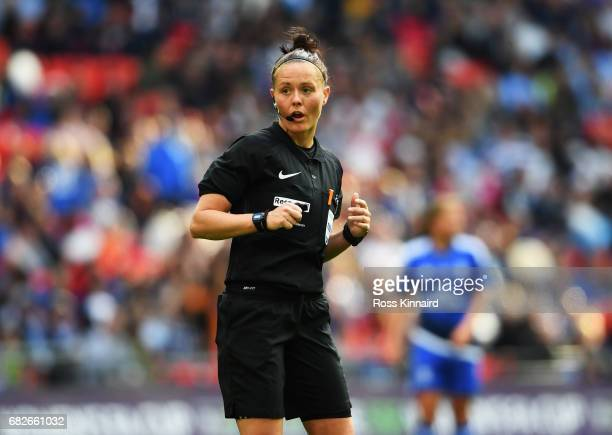 Referee Rebecca Welch during the SSE Women's FA Cup Final between Birmingham City Ladies and Manchester City Women at Wembley Stadium on May 13 2017...
