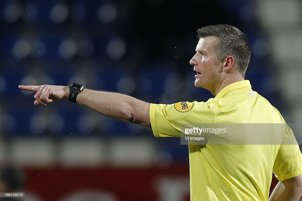 Referee Richard Liesveld during the Dutch Eredivisie match between Willem II and FC Groningen at the Koning Willem II Stadium on march 30, 2013 in Tilburg, The Netherlands