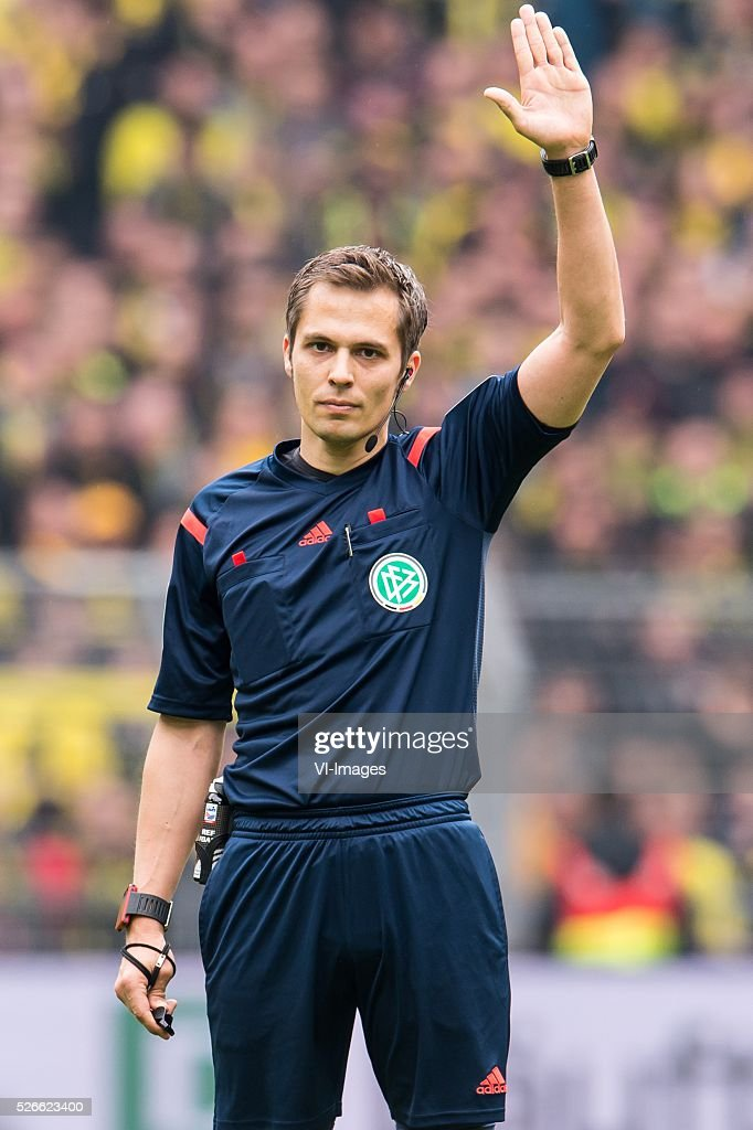 referee Robert Hartmann during the Bundesliga match between Borussia Dortmund and VfL Wolfsburg on April 30, 2016 at the Signal Idun Park stadium in Dortmund, Germany.