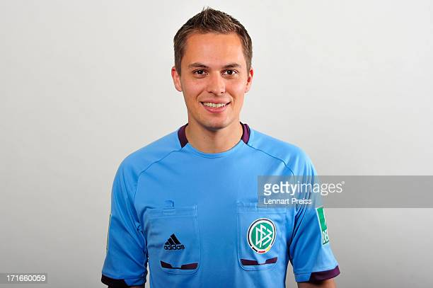 Referee Robert Hartmann poses during the DFB referee team presentation on June 27 2013 in Grassau Germany