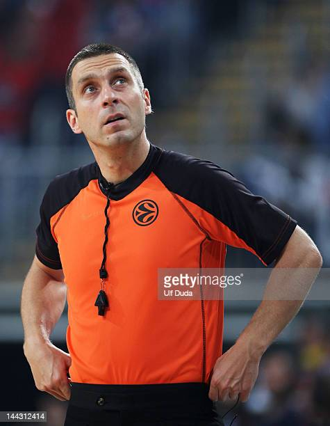 Referee Robert Lottermoser looks on during the Turkish Airlines EuroLeague Final Four Third Place match between Panathinaikos Athens and FC Barcelona...