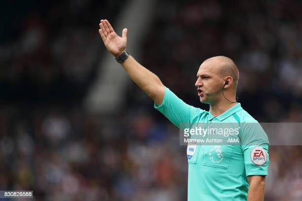 Referee Robert Madley during the Premier League match between West Bromwich Albion and AFC Bournemouth at The Hawthorns on August 12 2017 in West...