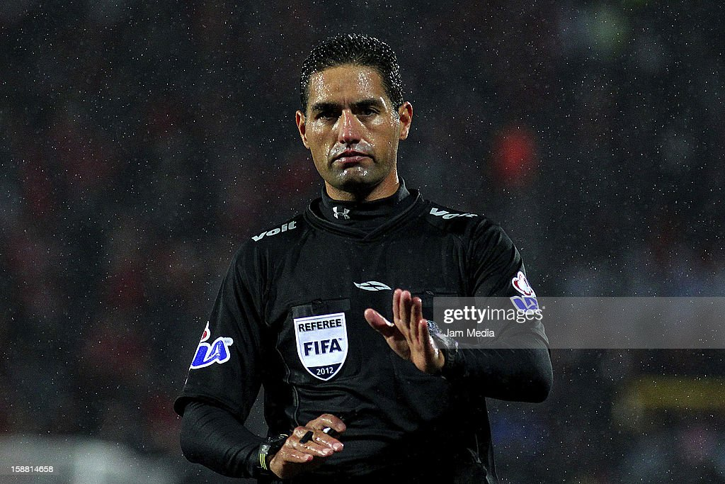 Referee Roberto Garcia looks on during a match between Tijuana and Dorados prior to the 2013 Clausura Liga MX at Caliente Stadium on December 29, 2012 in Tijuana, Mexico