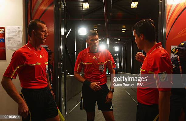 Referee Roberto Rosetti and his assistants prepare for the 2010 FIFA World Cup South Africa Round of Sixteen match between Argentina and Mexico at...