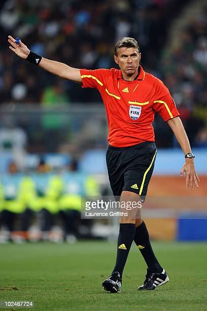 Referee Roberto Rosetti during the 2010 FIFA World Cup South Africa Round of Sixteen match between Argentina and Mexico at Soccer City Stadium on...