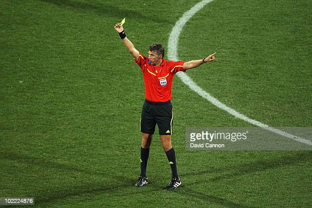 Referee Roberto Rosetti officiates during the 2010 FIFA World Cup South Africa Group D match between Ghana and Australia at the Royal Bafokeng...