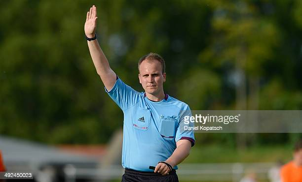 Referee Robin Siegl reacts during the international friendly U15 match between Germany and Netherlands on May 20 2014 in Weingarten Germany