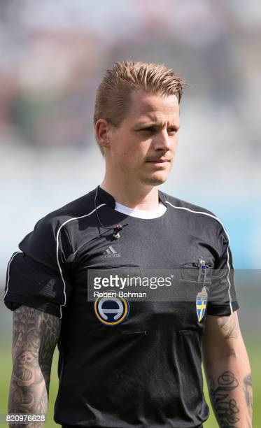 Referee Robin Wilde ahead of the Allsvenskan match between Malmo FF and Jonkopings Sodra IF at Swedbank Stadion on July 22 2017 in Malmo Sweden