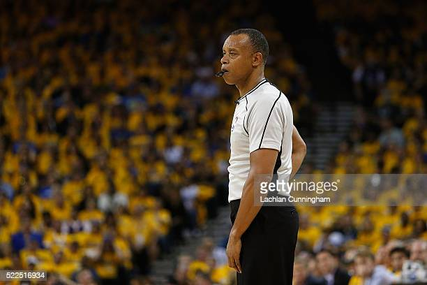 Referee Rodney Mott officiates in the second quarter in Game Two of the Western Conference Quarterfinals during the 2016 NBA Playoffs at ORACLE Arena...