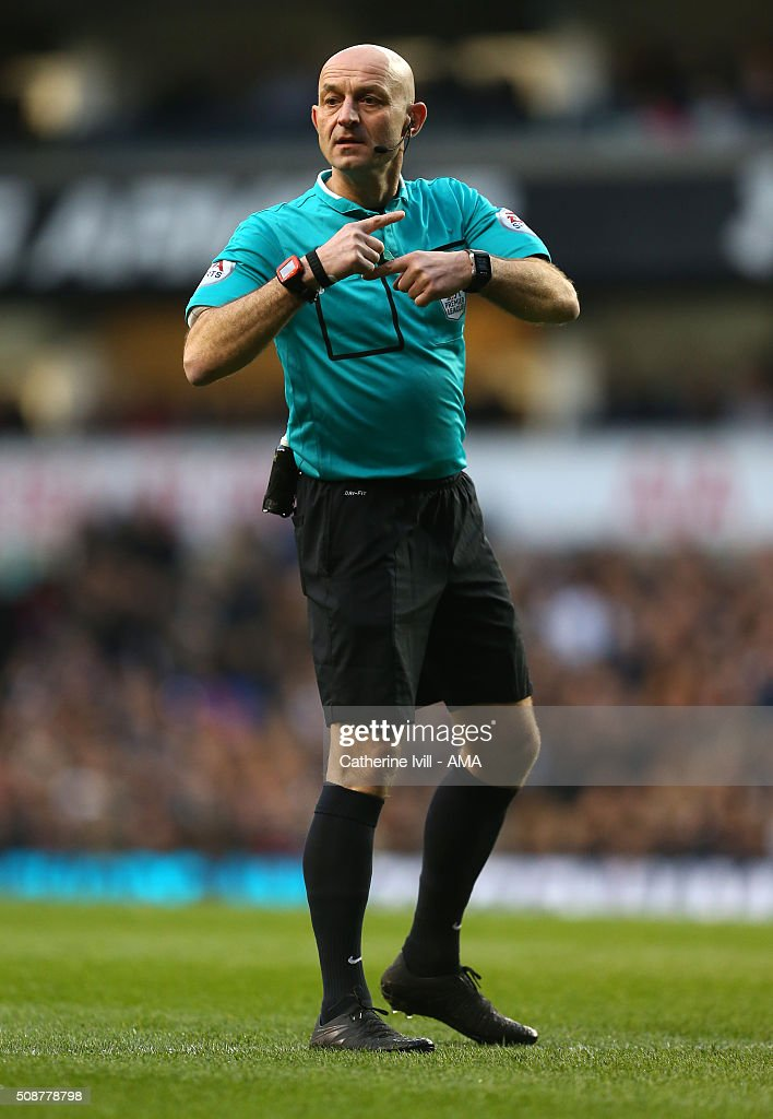 Referee Roger East during the Barclays Premier League match between Tottenham Hotspur and Watford at White Hart Lane on February 6, 2016 in London, England.