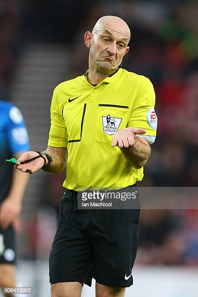 Referee Roger East gestures during the Barclays Premier League match between Sunderland and AFC Bournemouth at the Stadium of Light on January 23...