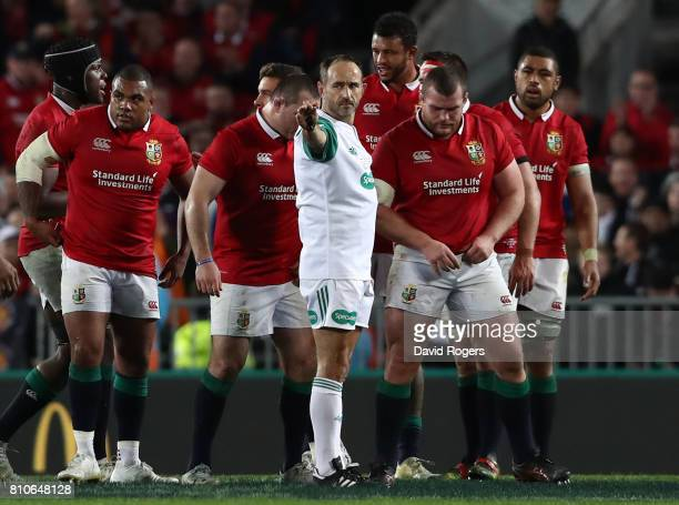 Referee Romain Poite of France awards a last minute scrum to the All Blacks during the third test match between the New Zealand All Blacks and the...