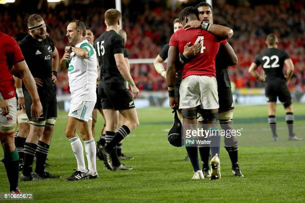 Referee Romain Poite speaks with All Black captain Kieran Read at the end of the Test match between the New Zealand All Blacks and the British Irish...