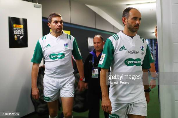 Referee Romain Poite walks into the changing rooms during the Test match between the New Zealand All Blacks and the British Irish Lions at Eden Park...