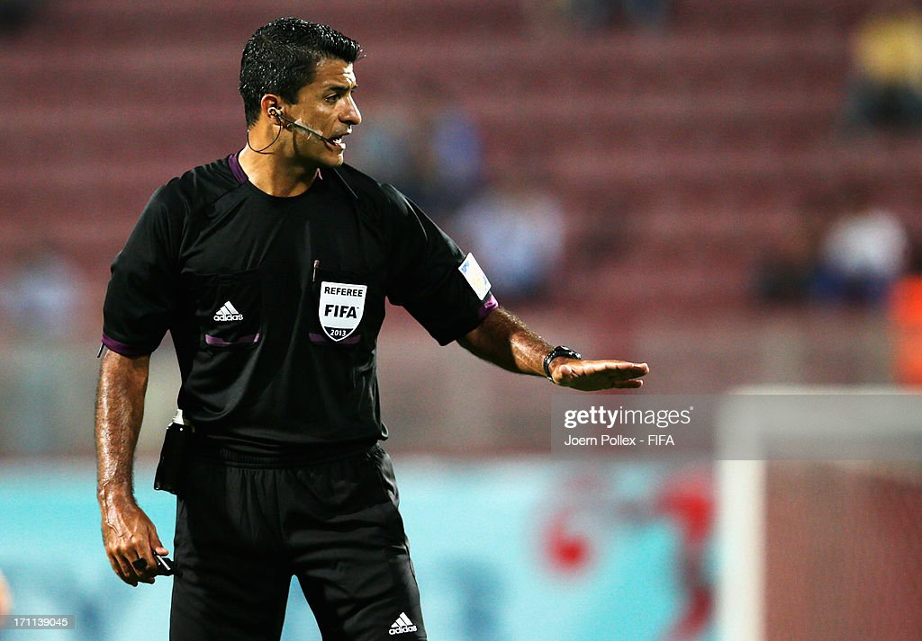 Referee Sandro Ricci gestures during the FIFA U-20 World Cup Group C match between Turkey and El Salvador at Huseyin Avni Aker Stadium on June 22, 2013 in Trabzon, Turkey.