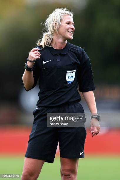 Referee Sarah Garratt in action during the Women's Super League 1 match between Arsenal and Bristol City at Meadow Park Boreham Wood on October 8...