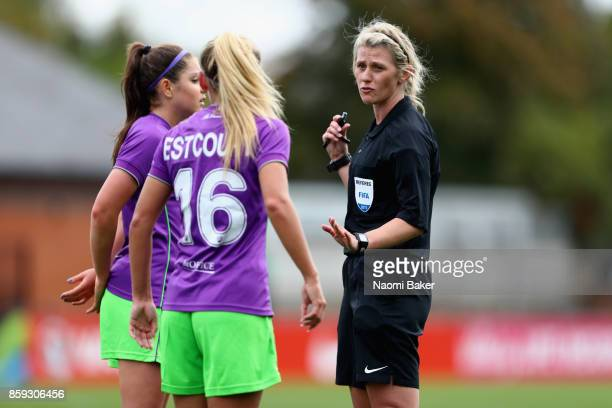 Referee Sarah Garratt in action with Charlie Estcourt of Bristol during the Women's Super League 1 match between Arsenal and Bristol City at Meadow...