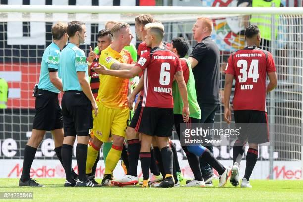 referee Sascha Stegemann linesman Andreas Steffens Dario Lezcano of FC Ingolstadt 04 Sebastian Polter of 1FC Union Berlin Hauke Wahl Alfredo Morales...