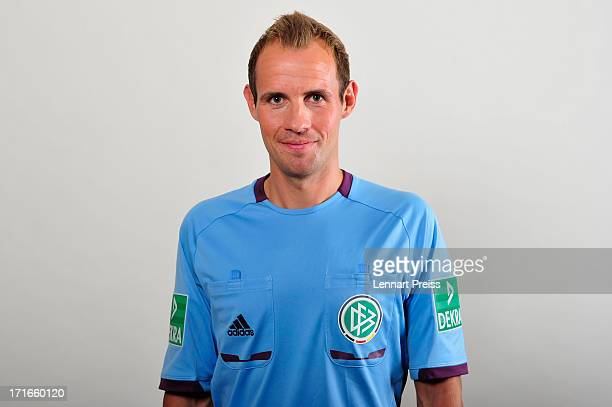 Referee Sascha Stegemann poses during the DFB referee team presentation on June 27 2013 in Grassau Germany