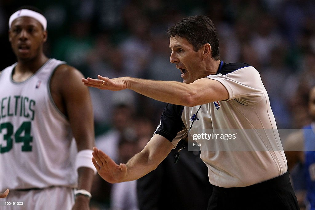 Referee Scott Foster calls a technical foul against Kevin Garnett of the Boston Celtics against the Orlando Magic in Game Four of the Eastern...