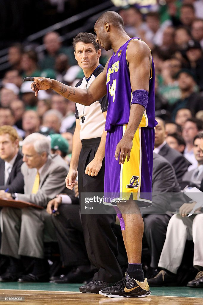 Referee Scott Foster listens to Kobe Bryant of the Los Angeles Lakers in the game against the Boston Celtics during Game Four of the 2010 NBA Finals...