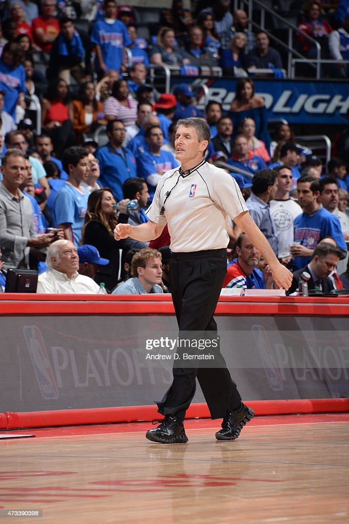 Referee Scott Foster signals for a replay in Game Six of the Western Conference Semifinals between the Los Angeles Clippers and the Houston Rockets...