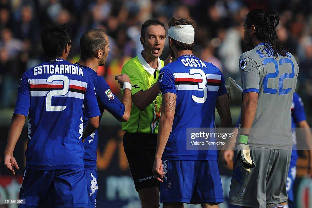 Referee Sebastiano Peruzzo reacts with Andrea Costa of UC Sampdoria during the Serie A match between Parma FC and UC Sampdoria at Stadio Ennio...