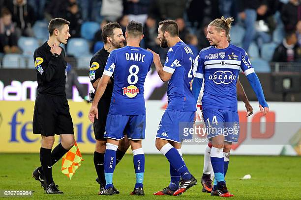 Referee sebastien desiage and mehdi mostefa of bastia during the Ligue 1 match between SC Bastia and FC Girondins de Bordeaux at Stade Armand Cesari...