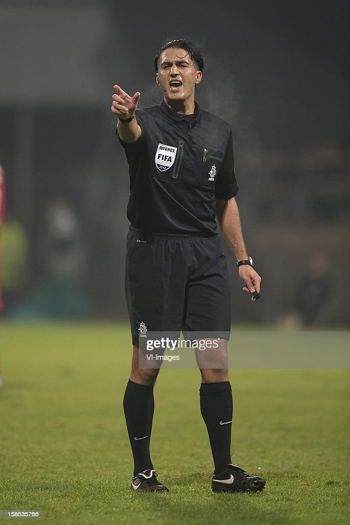 Referee Serdar Gozubuyuk during the Dutch Cup match between FC Dordrecht and AZ Alkmaar at the GN Bouw Stadium on December 18, 2012 in Dordrecht, The Netherlands.