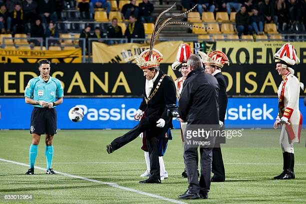 referee Serdar Gozubuyuk first kick by prins Carnaval of Kerkradeduring the Dutch Eredivisie match between Roda JC Kerkrade and sbv Excelsior at the...