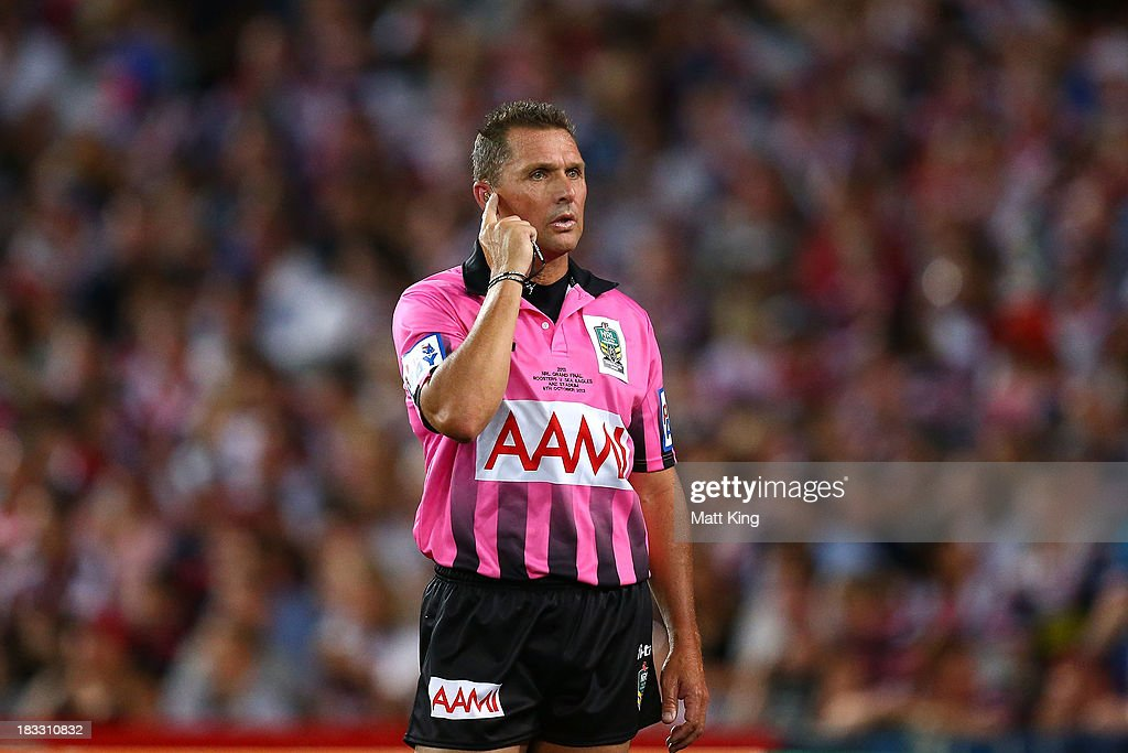 Referee Shayne Hayne looks on during the 2013 NRL Grand Final match between the Sydney Roosters and the Manly Warringah Sea Eagles at ANZ Stadium on October 6, 2013 in Sydney, Australia.