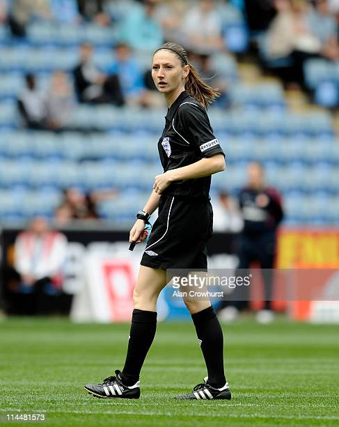 Referee Sian Massey during the Women's FA Cup Final between Arsenal LFC and Bristol Academy at The Ricoh Arena on May 21 2011 in Coventry England