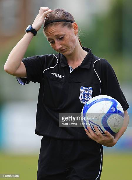 Referee Sian Massey in action during the FA WSL match between Everton Ladies FC and Bristol Academy Women's FC at the Arriva Stadium on May 8 2011 in...
