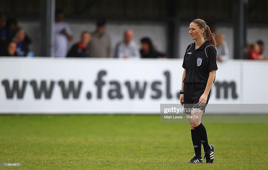 Referee <a gi-track='captionPersonalityLinkClicked' href=/galleries/search?phrase=Sian+Massey&family=editorial&specificpeople=6733765 ng-click='$event.stopPropagation()'>Sian Massey</a> in action during the FA WSL match between Everton Ladies FC and Bristol Academy Women's FC at the Arriva Stadium on May 8, 2011 in Liverpool, England.